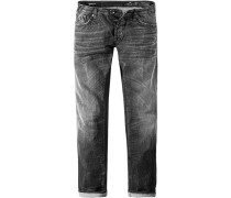 Herren Jeans Straight Fit Baumwoll-Stretch 9 oz anthrazit grau