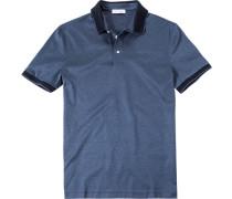 Poloshirt, Baumwoll-Jersey, jeansblau meliert