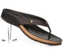 Schuhe Zehensandalen Nappaleder dunkelbraun
