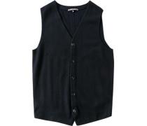 Pullover Weste Schurwolle marineblau