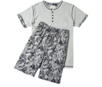 Schlafanzug Pyjama Baumwolle hellgrau-schwarz gemustert