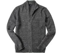 Zip-Cardigan Wolle-Alpaka meliert