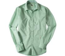 Hemd Baumwoll-Leinen hellgrün meliert