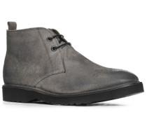 Herren Schuhe Schnürstiefeletten Veloursleder grau