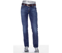 Herren Jeans Regular Slim Fit Baumwoll-StretchT400 indigo blau