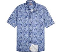 Hemd Modern Fit Baumwolle-Leinen gemustert