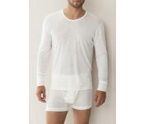 Herren 'Wool & Silk' Shirt Wolle-Seide naturweiß oder anthrazit meliert beige,weiß