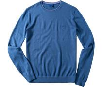 Herren Pullover Seide-Baumwolle-Mix denim blau