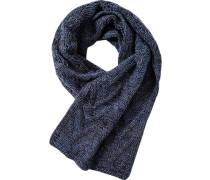 Schal Lammwolle hellblau-dunkelgrau gemustert