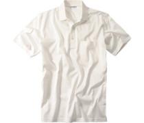 Polo-Shirt Polo Baumwoll-Jersey cremeweiß
