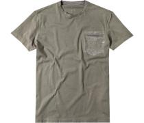 Herren T-Shirt Slim Fit Baumwolle khaki grün