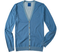 Herren Cardigan Baumwolle himmelblau blau,grau