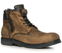 Herren Schuhe Stiefeletten Leder sand braun,grün