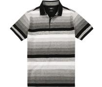 Polo-Shirt Polo Baumwoll-Jersey -schwarz gestreift