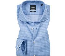 Hemd Slim Fit Popeline bleu gemustert