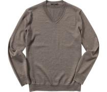 Pullover, Schurwolle, graubraun meliert