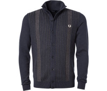 Cardigan Wolle navy-grau gestreift