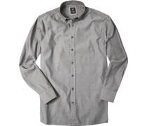 Herren Hemd Regular Fit Strukturgewebe grau meliert