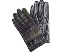 Herren  Handschuhe Leder-Woll-Mix navy-grün kariert braun