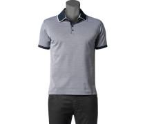Herren Polo-Shirt Polo Baumwoll-Jersey navy-weiß gemustert blau
