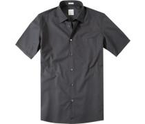 Herren Hemd Modern Fit Baumwolle schwarz