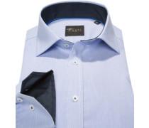 Hemd Slim Fit Popeline pastellblau-weiß gestreift