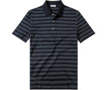 Polo-Shirt Polo, Baumwoll-Jersey, graublau-navy gestreift