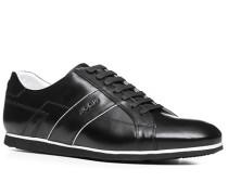 Herren Schuhe Sneaker Glattleder schwarz weiß,schwarz