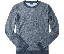 Herren Pullover Baumwolle dunkelblau meliert