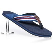 Herren Schuhe Zehensandale Textil blau-rot gestreift