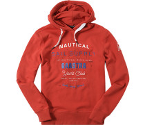 Pullover Hoody Baumwolle leuchtrot