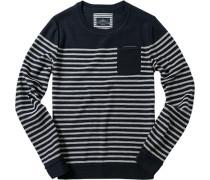 Herren Pullover Baumwolle marine-wollweiß gestreift blau