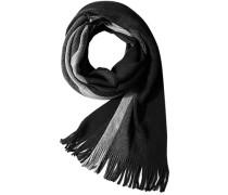 Herren  Schal Wolle schwarz-grau gestreift blau