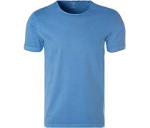 T-Shirt, Body Fit, Baumwolle, tintenblau