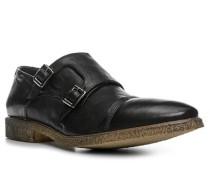 Herren Schuhe Doppelmonkstraps Glattleder schwarz