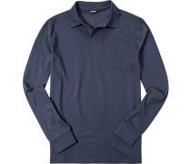 Herren Polo-Shirt Polo Baumwoll-Jersey marineblau meliert