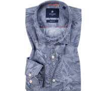 Hemd, Modern Fit, Baumwolle,rauchblau gemustert