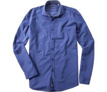Hemd Baumwolle azurblau-weiß gemustert