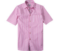 Hemd Modern Fit Popeline dunkelrosa-weiß gestreift