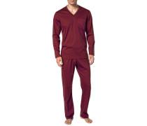 Herren Schlafanzug Pyjama Baumwolle mercerisiert in 4 Farben blau,rot