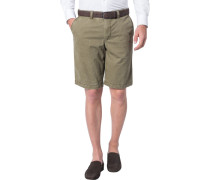 Herren Hose Shorts Modern Fit Baumwoll-Stretch oliv grün