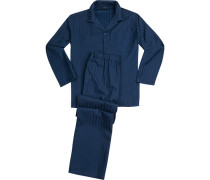 Schlafanzug Pyjama, Microfaser, marine