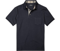 Polo-Shirt Baumwoll-Piqué navy meliert