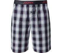 Schlafanzug Pyjamashorts Baumwolle navy-weiß kariert
