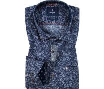 Hemd, Modern Fit, Popeline, saphirblau gemustert