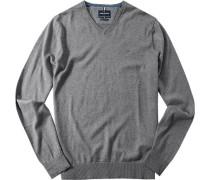 Herren Pullover Wolle-Baumwoll-Mix mittelgrau meliert
