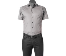 Herren Hemd Slim Fit Stretch-Popeline grau