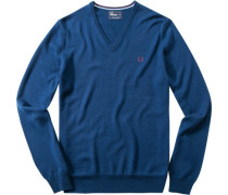 Pullover Merinowolle azurblau