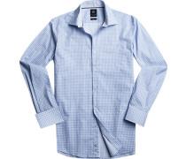Hemd Modern Fit Popeline dunkelblau gemustert
