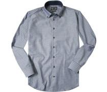 Herren Hemd Regular Fit Strukturgewebe blau gemustert